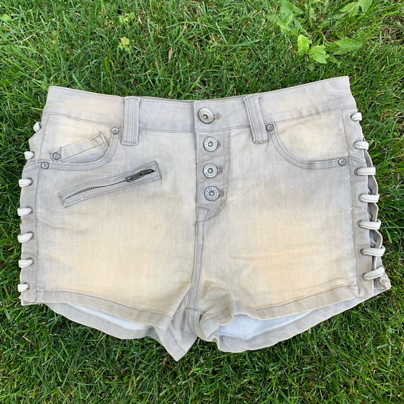 Free People Button Front Lace Up Side Denim Shorts